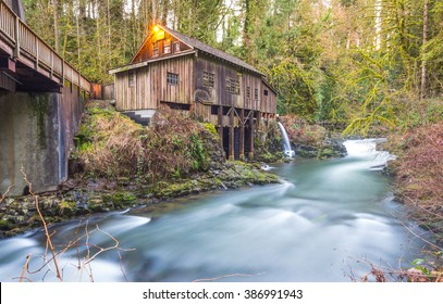 scene of the Cedar creek grist mill in the morning,Washington,usa.
