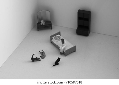 Scene created with miniature toy people. Stereotype of the lonely or crazy cat woman. Lady with many cats in her apartment or house. How many cats is too many cats? Black and white for dramatic effect