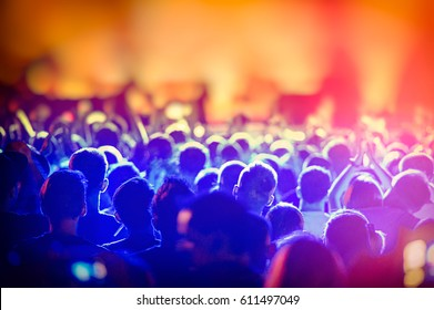 Scene and a Crowd of Fans During a Rock Band Concert. Concert Crowd. Rock music.