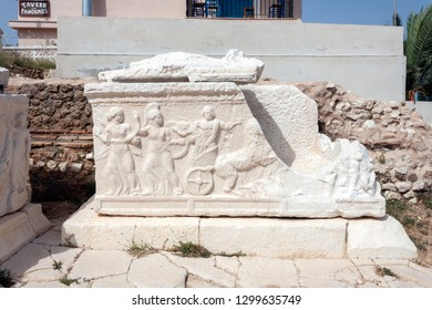 scene depicting the abduction of persephone on sarcophagus XVIII, roman cemetery of Fiskardo, Kefalonia, Greece . 16/06/2016