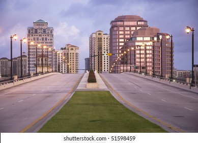 Scene of downtown West Palm Beach, Florida, USA showing Royal Park drawbridge and Phillips Point.
