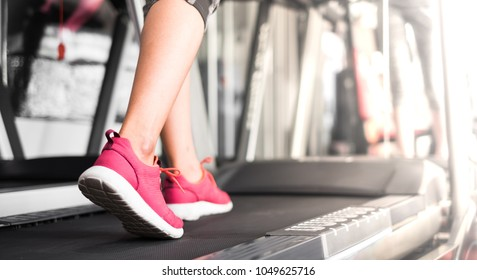 Scene in fitness gym. Sneaker shoe of sport girl exercise running on treadmill machine.