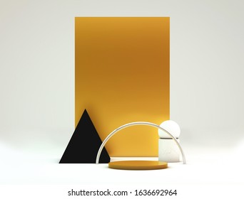 Scene with geometric shapes, minimal abstract background,