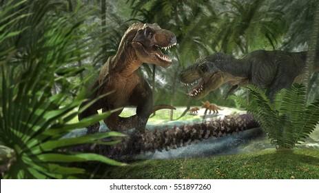 scene of the giant dinosaur destroy the park