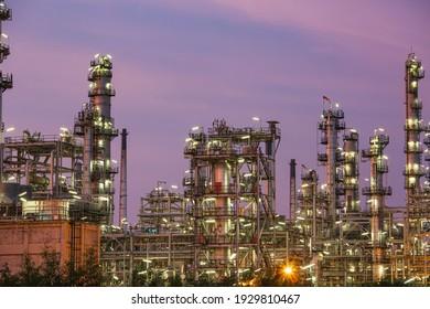 Scene heavy of oil refinery plant of Petrochemistry industry in the twilight time