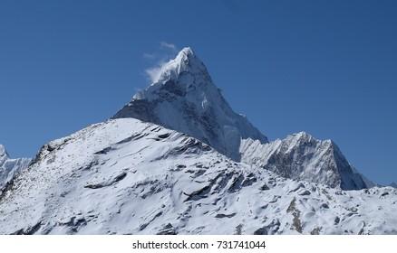 Scene of Himalaya mountain on the way from Kongma La Pass, Everest Region, Nepal.