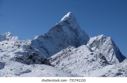 Scene of Himalaya mountain on the way to Kongma La Pass and Pokalde Peak, Nepal.