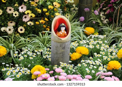 In the scene of the Hinamatsuri (Doll's Day or Girls' Day) in Japan, child doll is in bamboo.