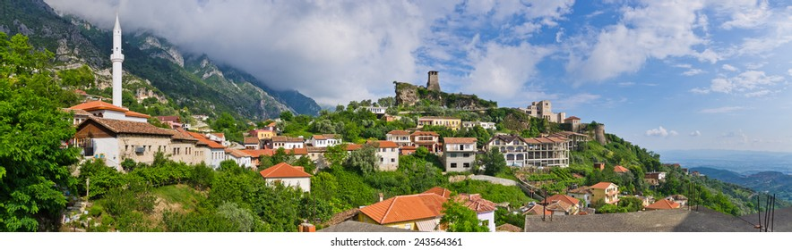 Scene with Kruja castle near Tirana in Albania