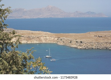Scene of land and sea in Rhodes, Greece.