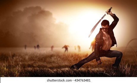 scene like in a horror movie with a man holding a machete and a cigar, standing on a field with approaching zombies