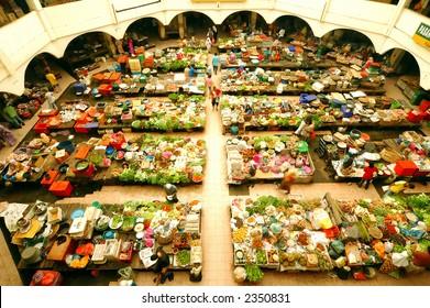 scene of local market in Kelantan, Malaysia.