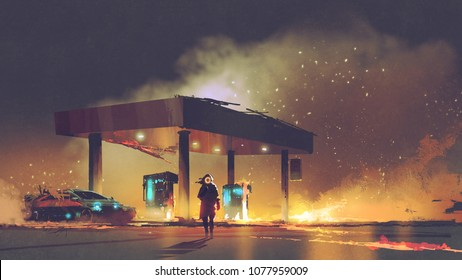 scene of the man burning the gas station at night, digital art style, illustration painting