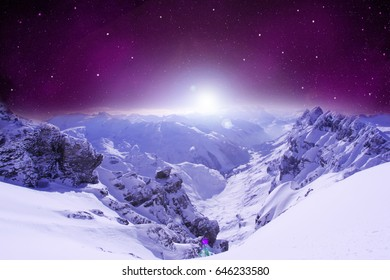 scene of mountain rock under space night sky with cloud and star, abstract background