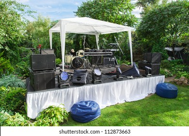 Scene for musicians perform at private party