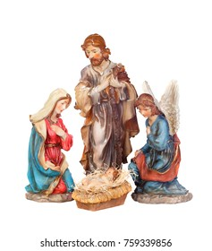 Scene of the nativity isolated on a white background