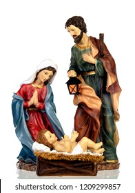 Scene of the nativity: Mary, Joseph and the Baby Jesus isolated on a white background