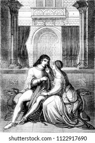 A scene of the nibelungen, vintage engraved illustration. Magasin Pittoresque 1841.