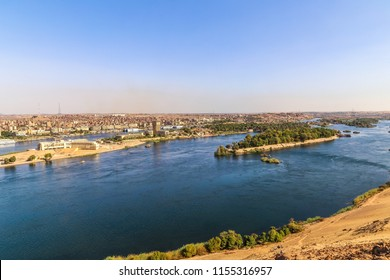 A scene for the Nile in Aswan. Colorful landscape of Nile in Aswan.
