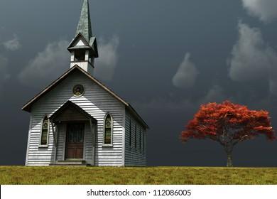 Scene of an old church on a wind swept prairie.