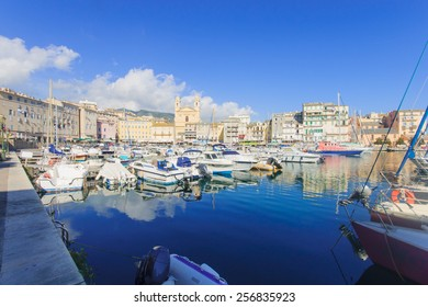 Scene of the old port (the Vieux Port), in Bastia, Corsica, France.