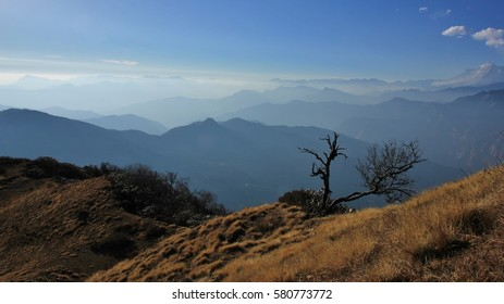 Scene on Muldhai hill in the Annapurna Conservation Area in Nepal