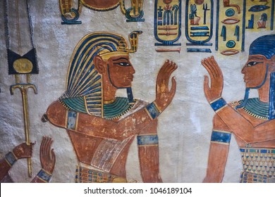 Scene on the wall of the Egyptian temple