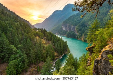scene over Diablo lake when sunrise in the early morning in North Cascade national park,Wa,Usa