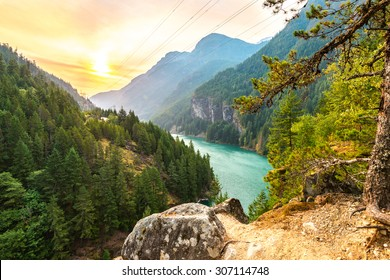 scene over Gorge dam when sunrise in the early morning in North Cascade national park,Wa,Usa