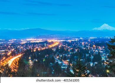scene overlook view of Portland  city at night,Portland,Oregon,usa.