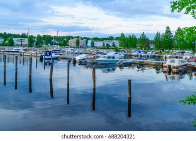Scene of the passenger harbor, with various boats, in Kuopio, Finland