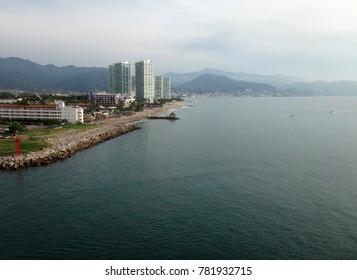 Scene of Puerto Vallarta from a cruise ship. Jalisco, Mexico.