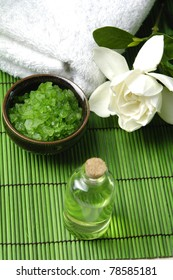 Scene of relaxing treatment on green mat