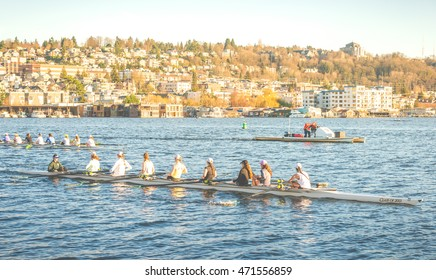 scene of rowing boat training on sunset at  lake union ,Seattle,Washington,usa.  shoot in 17-02-15 -for editorial use only.