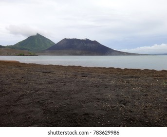 Scene of Simpson Harbour and Mt Tavurvur, Rabaul, Papua New Guinea.