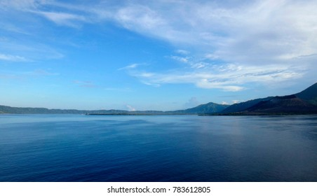 Scene of Simpson Harbour and Rabaul from a cruise ship.
