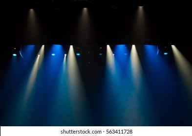 scene, stage light with colored spotlights