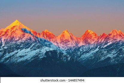 "scene of sunset on Mountain Peaks ""panchachuli"" In Indian Himalaya"
