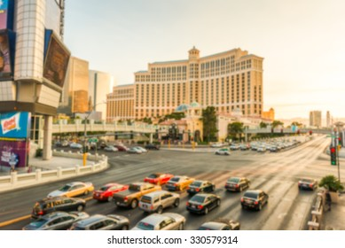 scene of traffic and crowd walking on the interception, in Las Vegas,Nevada,USA.-blur.