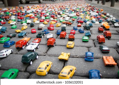 Scene of a traffic made with little toy cars