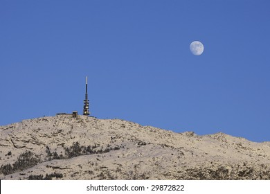 Scene with transmitter and moonrise
