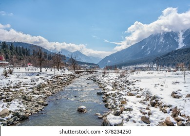 Scene of valley in Pahalgam in winter