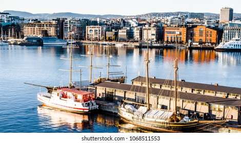 Scene view of the ships and boats in Oslo port, Norway