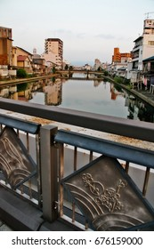 Scene of Wakayama city with bridge crossing Waka river, Wakayama, Wakayama Prefecture, Kansai region, Japan