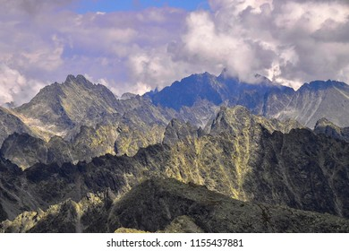 Sceneric view of High Tatras with dramatic clouds and high peaks/summits. The High Tatras or High Tatra Mountains are a mountain range along the border of northern Slovakia.