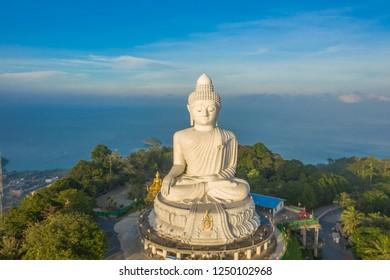 scenery aerial photography sunrise at Phuket big Buddha. Phuket Big Buddha is one of the island most, important and revered landmarks on Phuket island.