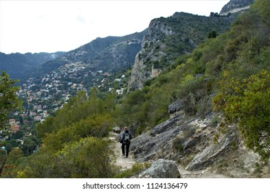 "Scenery along the hiking trail from the top of the medieval village called ""Eze"" in French Riviera, France"