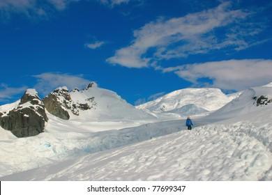 Scenery in Antarctica, snow, blue sky and lone walker