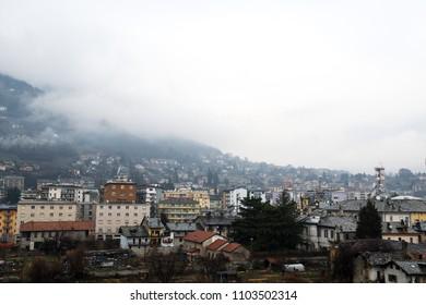 Scenery of Aosta in the rainy spring day, Aosta, Valle d'Aosta, Italy