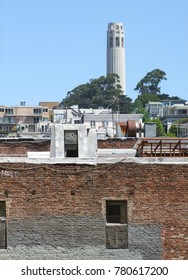scenery around the Coit Tower at Telegraph Hill in San Francisco